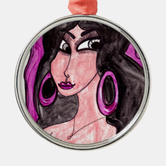 Brunette in Purple Metal Ornament