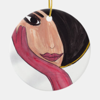 Brunette in the Mirror Round Ceramic Ornament