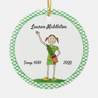 Brunette Junior Girl Scouting Green Crosshatch Ceramic Ornament