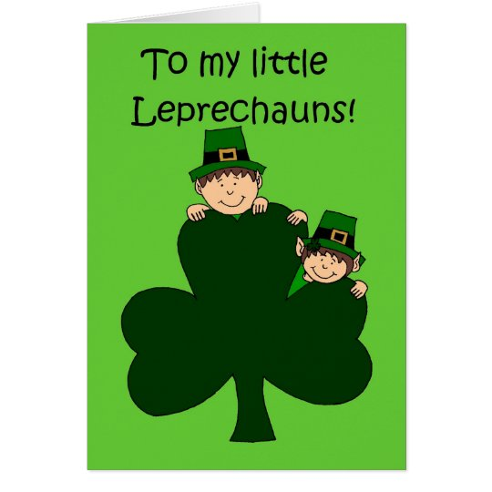 brunette kids with shamrock on green card