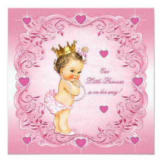 Brunette Little Princess Love Hearts Baby Shower Card