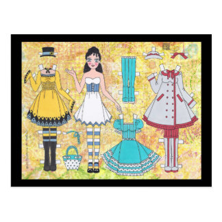 Brunette Lolita Paper Doll Postcard