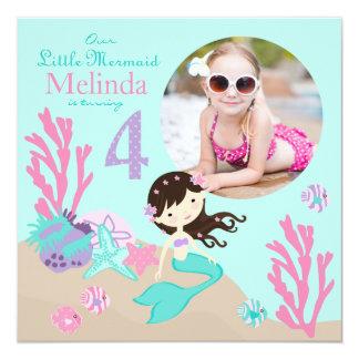 Brunette Mermaid Fourth Birthday Invitation