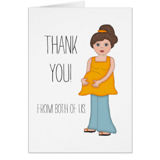 Brunette Mom Baby Shower Thank You Card