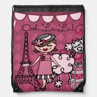 Brunette Ooh La La Diva Drawstring Backpack Bag