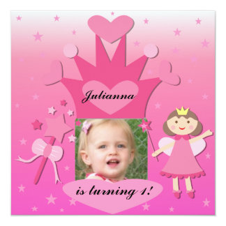 Brunette Party With The Princess Birthday Invites