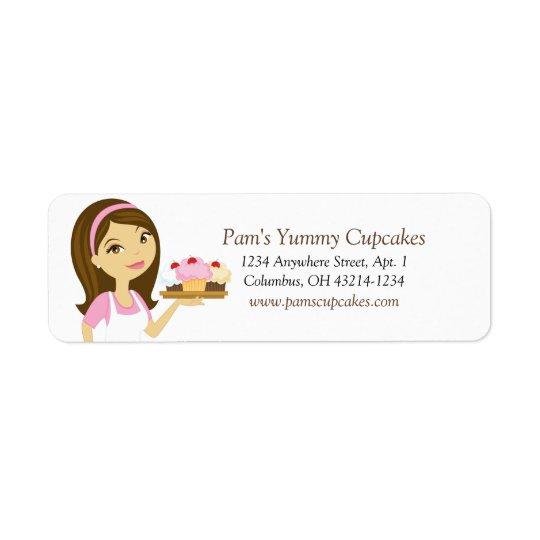 Brunette/Pink Cupcake Baker Return Address Labels