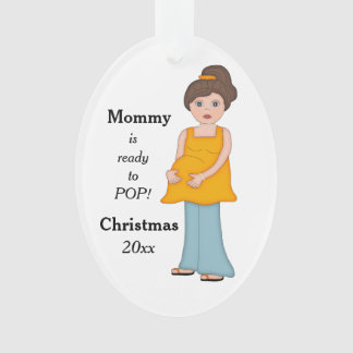Brunette Pregnant Mommy Ready to Pop Ornament