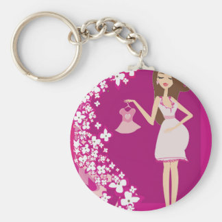 brunette pregnant woman keychain