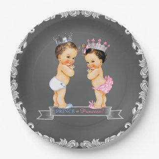 Brunette Prince Princess Chalkboard Baby Shower 9 Inch Paper Plate