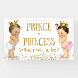 Brunette Prince Princess Gender Reveal Baby Shower Banner