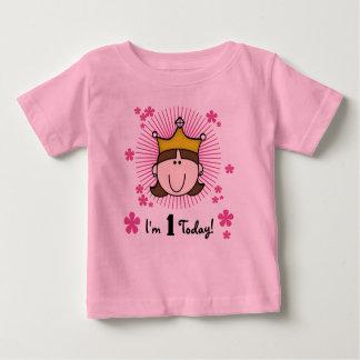 Brunette Princess 1st Birthday Baby T-Shirt