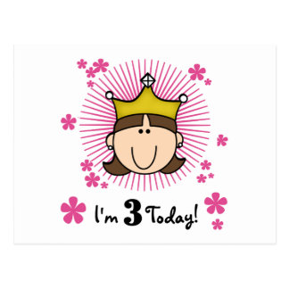 Brunette Princess 3rd Birthday Tshirts and Gifts Postcard