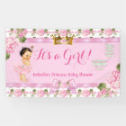 Brunette Princess Baby Shower Pink Roses Tea Party Banner
