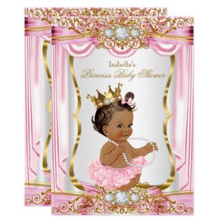 Brunette Princess Baby Shower Pink Silk dark Card