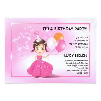 Brunette Princess Children Birthday Party Invitati Card