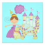Brunette Princess Personalized Invite