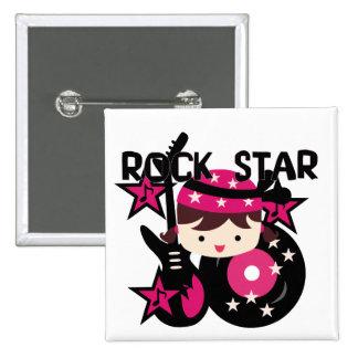 Brunette Rock Star Girl 2 Inch Square Button