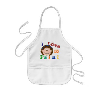 Brunette Smiling Face Childrens Painting Apron