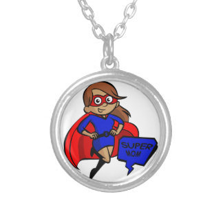 brunette super mom silver plated necklace