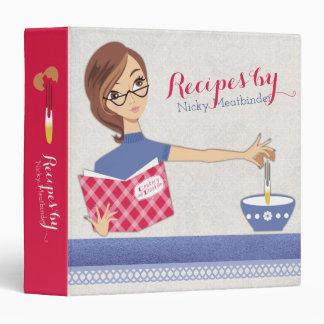 Brunette woman cracking eggs recipe cookbook vinyl binders