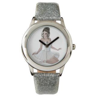 Brunette Woman Custom Silver Glitter Wrist Watch