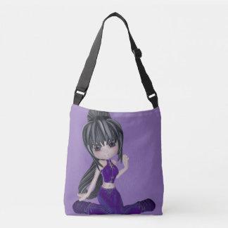 Brunette Woman Purple Medium Bag