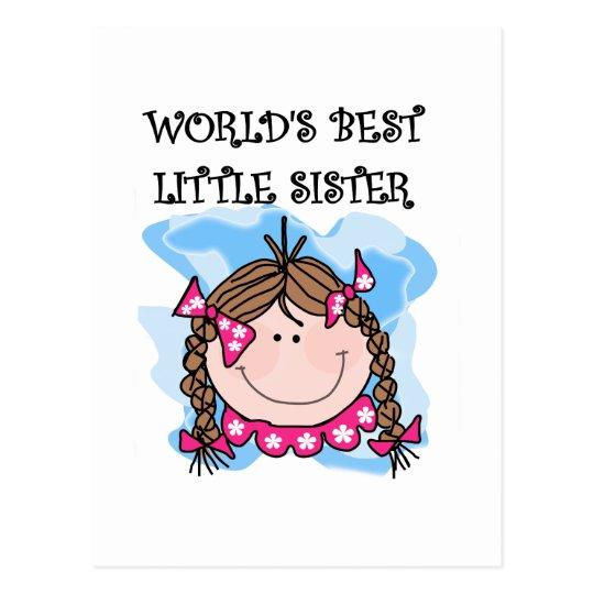 Brunette World's Best Little Sister Tshirts Postcard
