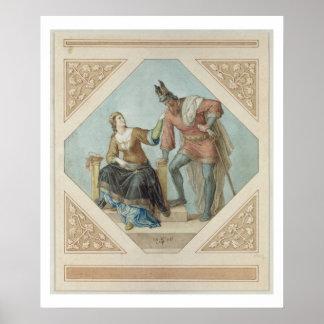 Brunhilde and Hagen, illustration for 'The Niebelu Poster