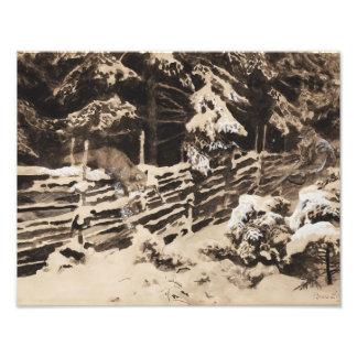 Bruno Liljefors - Winter Scene with Hunter and Fox Photo Print