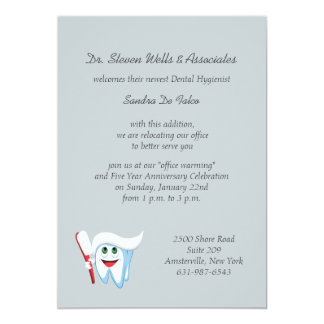Brush and Tooth Dental Announcement/Invitation Card