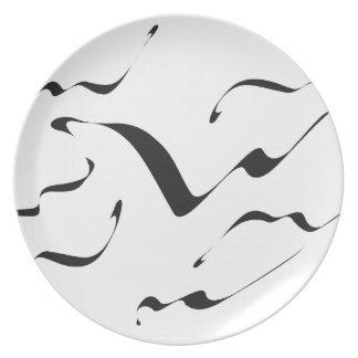 Brush Art A7 (black, white) Dinner Plate