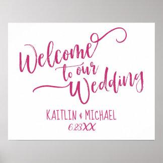 Brush Calligraphy Wedding Welcome Sign | Magenta