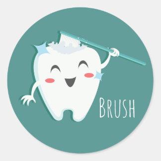 Brush Dentist Glossy, Small, 1½ inch (sheet of 20) Classic Round Sticker