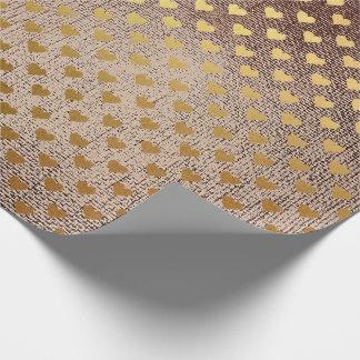 Brush Maroon Brown  Golden Heart Confetti