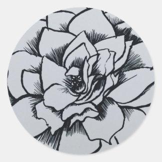Brush Rose Classic Round Sticker