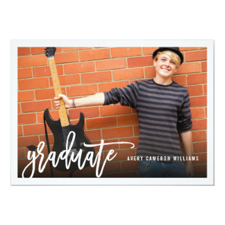 Brush Script Graduation Photo Announcement Invite