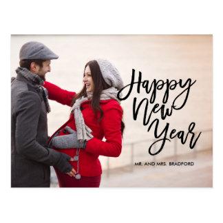 Brush Script Happy New Year Photo Postcard