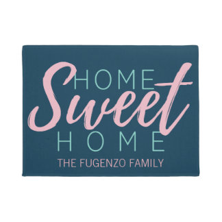 Brush Script in Pink Home Sweet Home+Family Name Doormat