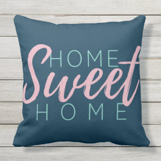 Brush Script in Pink Home Sweet Home+Family Name Throw Pillow
