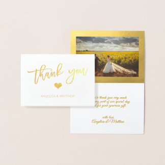 Brush Stroke Gold Foil THANK YOU Wedding | PHOTO Foil Card