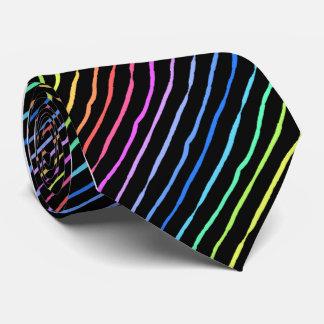 Brush Stroke Rainbow Striped Single Sided Tie