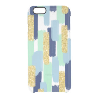Brush Strokes | Navy and Gold Glitter Clear iPhone 6/6S Case