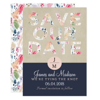 Brush strokes pink and navy Save the date wedding Card