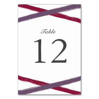 Brush Strokes Table Number Card   Lavender Berry Table Cards