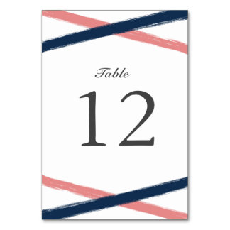 Brush Strokes Table Number Card   Navy Coral Table Cards