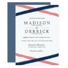 Brush Strokes Wedding Invitations | Navy Coral