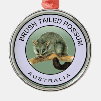 Brush tailed possum Silver-Colored round ornament