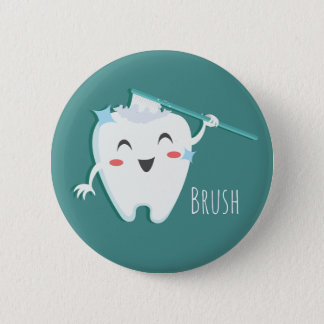 Brush Teeth Dentist Standard, 2¼ Inch Round Button
