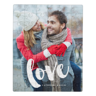 """Brush Typography """"Love"""" Jigsaw Puzzle"""